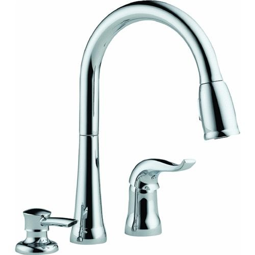 Delta Faucet Delta Single Handle Pull-Down Kitchen Faucet With Soap Or Lotion Dispenser