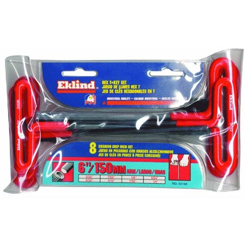 "Eklind 8-Piece 6"" Arm T-Handle Hex Key Set"