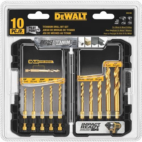 Black & Decker/DWLT DeWalt 10-Piece Impact Ready Hex Shank Drill Bit Set