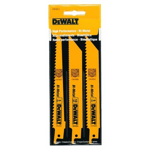 Black & Decker/DWLT DeWalt 3-Piece Bi-Metal Reciprocating Saw Blade Set