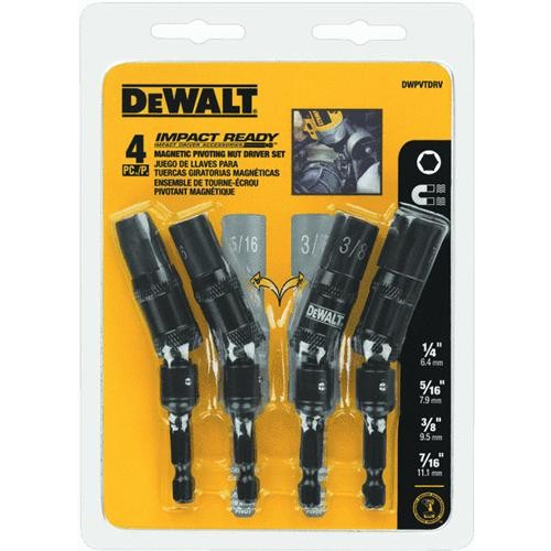Black & Decker/DWLT DeWalt 4-Piece Impact Ready Pivoting Magnetic Nutdriver Set