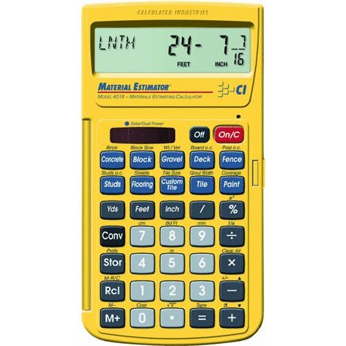 Calculated IND. Materials Estimator Calculator