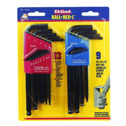 Eklind Ball-Hex-L Metric and SAE Key Wrench Set