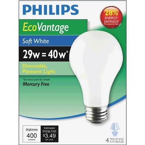 Philips Lighting Co Philips EcoVantage A19 Medium Halogen Light Bulb (4-Pack)