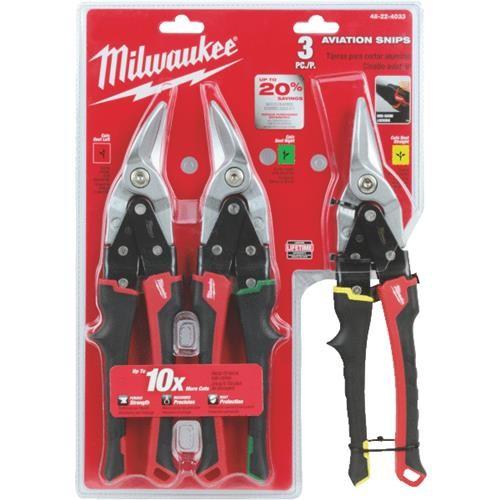 Milwaukee Elec.Tool Milwaukee 3-Piece Aviation Snip Set