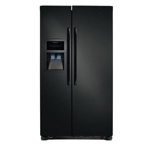 Frigidaire 23 C/F Refrigerator Side by Side with Water/Ice Dispenser with Ice Maker,  Energy Star, Glass Shelves, FFHS2322MB , Black