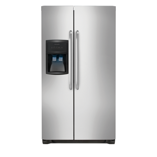 Frigidaire 26 C/F Side-By-Side with Refrigerator  with Water/Ice Dispenser,  Energy Star, Glass Shelves. FFHS2622MS, Stainless Steel