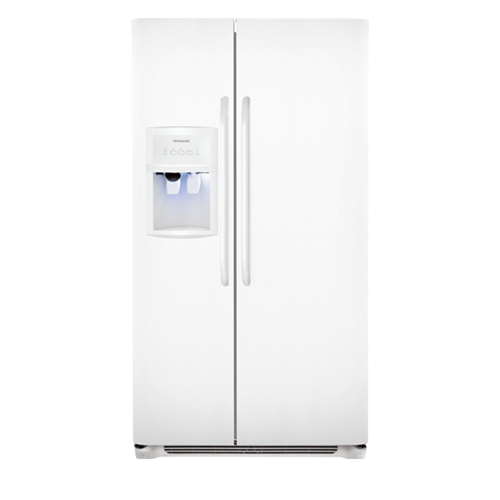 Frigidaire 26 C/F Side-By-Side with Refrigerator  with Water/Ice Dispenser,  Energy Star, Glass Shelves. FFHS2622MW, White