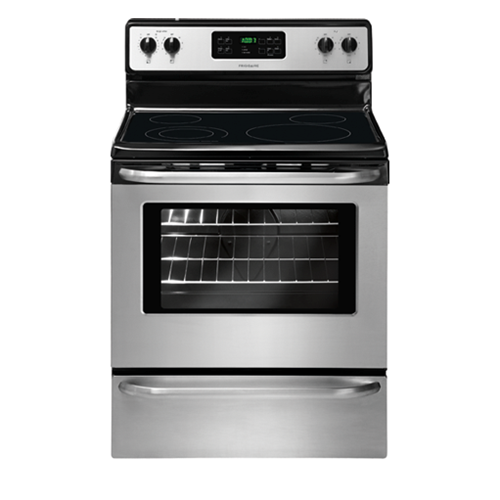 "Frigidaire 30"" Freestanding Electric Range Smoothtop Self Clean, Window, Clock. FFEF3048LS, Stainless Steel"