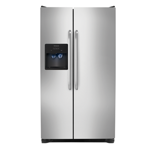 Frigidaire 26 C/F Side-By-Side with Refrigerator  with Water/Ice Dispenser,  Energy Star, Glass Shelves, FFSS2614QS, Stainless Steel
