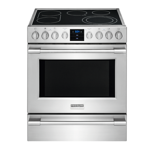 Frigidaire Professional 30' Electric Front Control Freestanding Range, ADA Compliant, 5 Burners, Convection Oven, FPEH3077RF, Stainless Steel