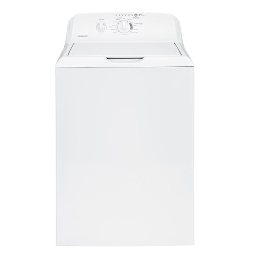 Hotpoint Top Load Washer 3.8 C/F, Stainless Steel Basket, 10 Cycles, HTW200ASKWW, White