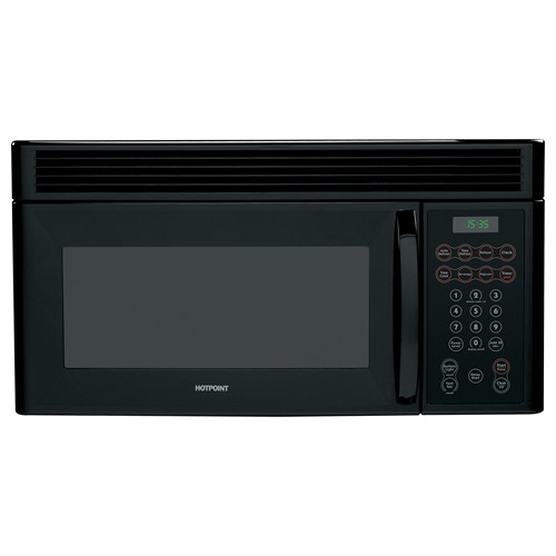 Hotpoint Microwave 1.5 C/F  Over-The-Range, 950 Watts, 10 Power Levels, 200 CFM Vent. RVM1535DMBB, Black