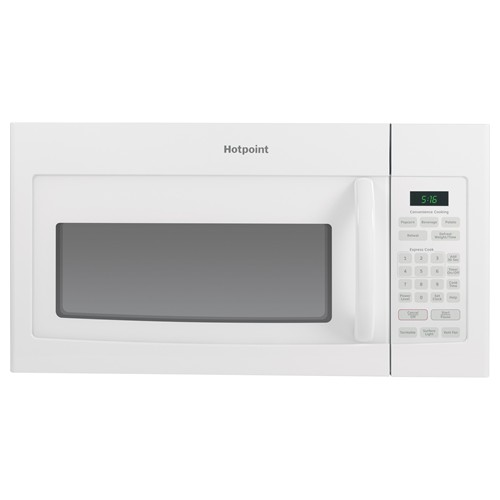 Hotpoint Microwave 1.6 C/F  Over-The-Range, 1000 Watts, 2 Speed, 200 CFM Vent, Convertible, RVM5160DHWW, White