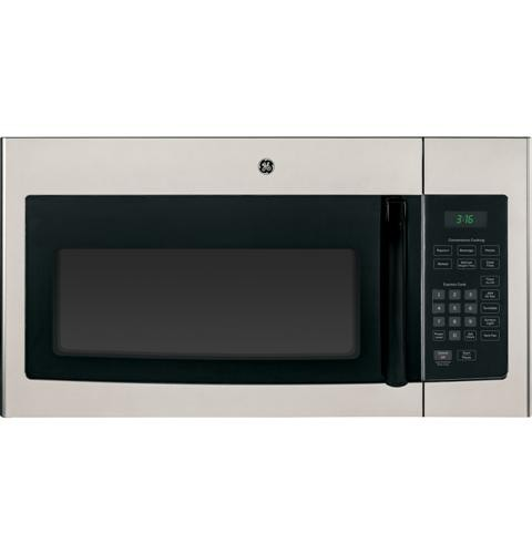 General Electric Microwave 1.6 C/F  Over-The-Range,  1000 Watts, 2 Speed, 300 CFM Vent, Black Handle, JNM3161MFSA, Silver Mist