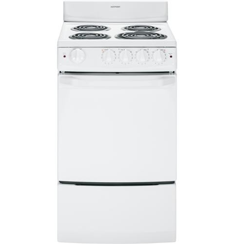 "Hotpoint 20"" Freestanding Electric Range Coil Burners, Manual Clean,ADA Compliant, RA720KWH, White"
