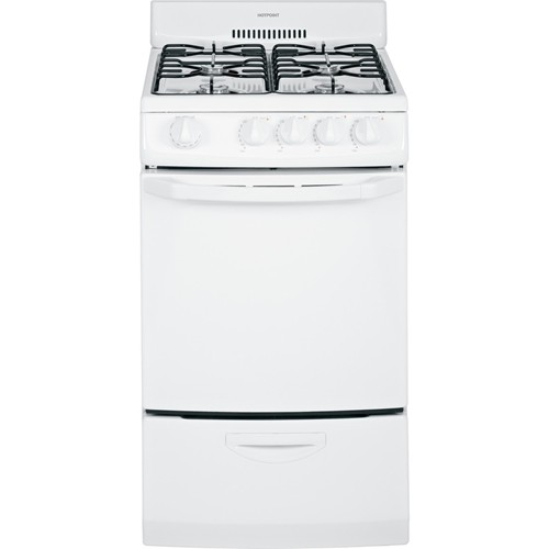 "Hotpoint 20"" Freestanding Gas Range Electric Ignition, Manual Clean, RGA720EKWH, White"