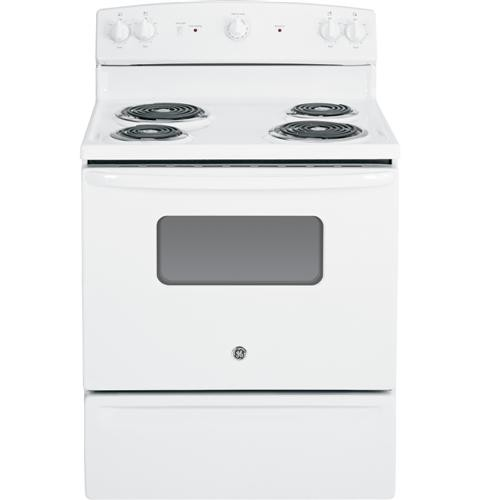 "General Electric 30"" Freestanding Electric Range Coil Burners, Window, Clock, Manual Clean, JBS10DFWW, White"