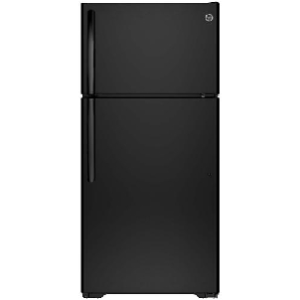 General Electric 15 C/F Refrigerator with Top Freezer, Wire Shelves, No Ice Maker, ADA Compliant, Energy Star, GTE15CTHBB, Black
