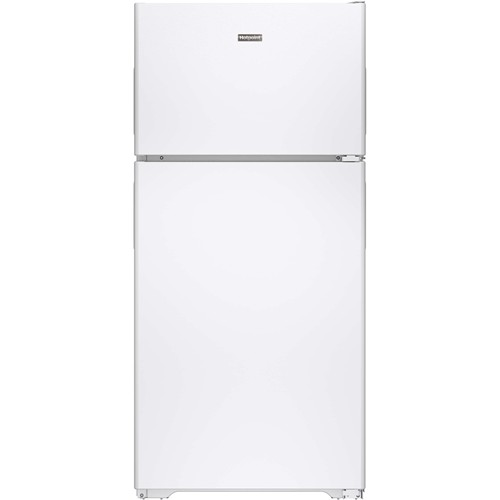 Hotpoint 15 C/F Refrigerator with Top Freezer, Wire Shelves, No Ice Maker, ADA Compliant, Energy Star, HPE15BTHWW, White