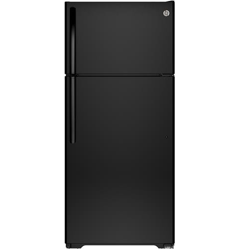 General Electric 16 C/F Refrigerator with Top Freezer, Wire Shelves, No Ice Maker, ADA Compliant, Energy Star, GTE16DTHBB, Black