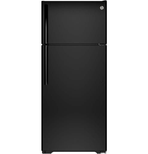 General Electric 18 C/F Refrigerator with Top Freezer, Glass  Shelves, No Ice Maker, GTS18GTHBB, Black