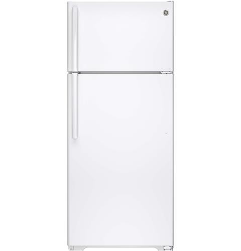 General Electric 18 C/F Refrigerator with Top Freezer, Glass  Shelves, No Ice Maker, GTS18GTHWW, White
