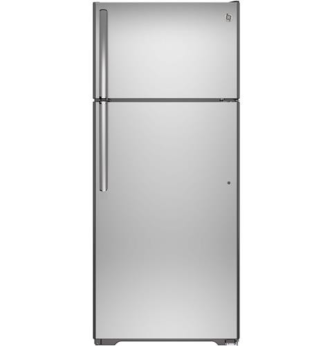 General Electric 18 C/F Refrigerator with Top Freezer, Glass  Shelves, No Ice Maker,Energy Star, GTE18GTH Series,  Stainless Steel