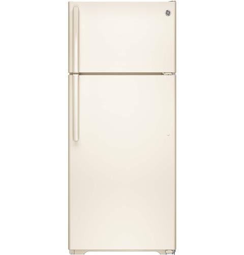 General Electric 18 C/F Refrigerator with Top Freezer, Glass  Shelves, No Ice Maker,Energy Star, GTE18GTHCC, Bisque