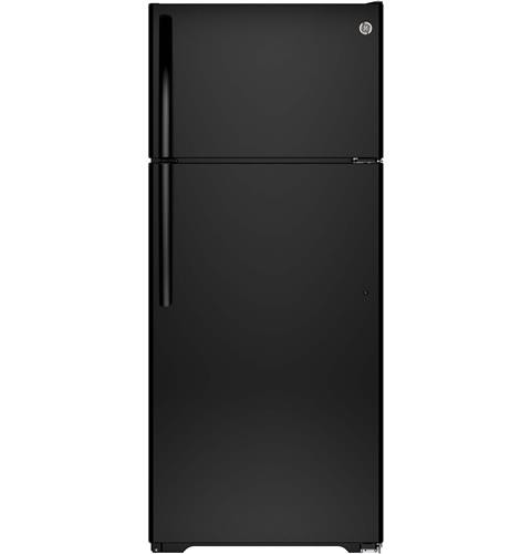 General Electric 18 C/F Refrigerator with Top Freezer, Wire Shelves, No Ice Maker, GTS18CTHBB, Black
