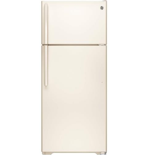 General Electric 18 C/F Refrigerator with Top Freezer, Wire Shelves, No Ice Maker,  Energy Star, GTE18CTHCC, Bisque