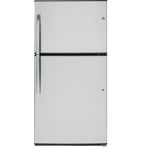 General Electric 21 C/F Refrigerator with Top Freezer, Glass Shelves, Factory Ice Maker, Energy Star, ADA Compliant, GIE21GSHSS, Stainless Steel