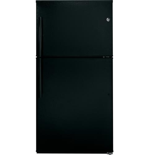 General Electric 21 C/F Refrigerator with Top Freezer, Glass Shelves, No Ice Maker, Energy Star, GTE21GTHBB, Black