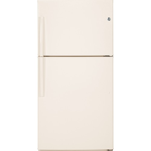 General Electric 21 C/F Refrigerator with Top Freezer, Glass Shelves, No Ice Maker, Energy Star, GTE21GTHCC, Bisque
