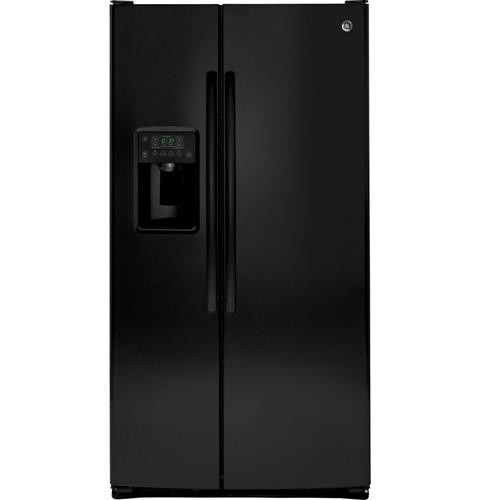 General Electric 25.6 C/F Refrigerator Side by Side with Water/Ice Dispenser, Glass Shelves,GSS25GGHBB, Black