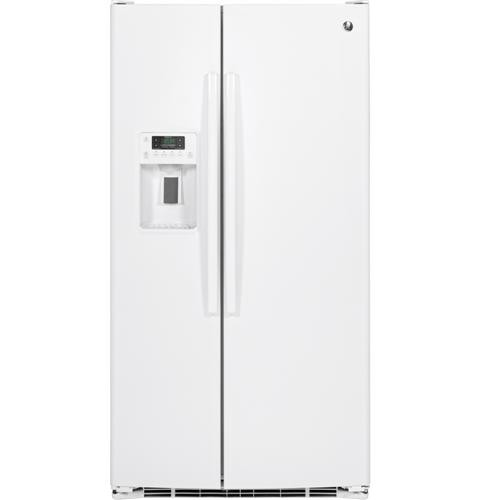 General Electric 25.6 C/F Refrigerator Side by Side with Water/Ice Dispenser, Glass Shelves, GSS25GGHWW, White