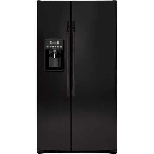 Hotpoint 25.6 C/F Refrigerator Side by Side with Water/Ice Dispenser, Glass Shelves, HSS25ATHBB, Black