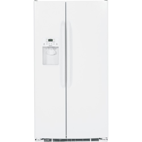 Hotpoint 25.6 C/F Refrigerator Side by Side with Water/Ice Dispenser, Glass Shelves, HSS25ATHWW, White