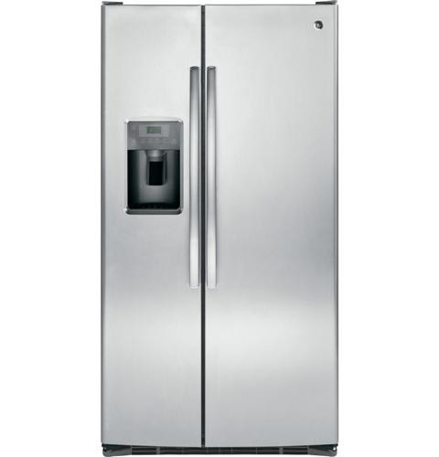 General Electric 25.6 C/F Refrigerator Side by Side with Water/Ice Dispenser, Glass Shelves, Energy Star, GSE25GSHSS, Stainless Steel