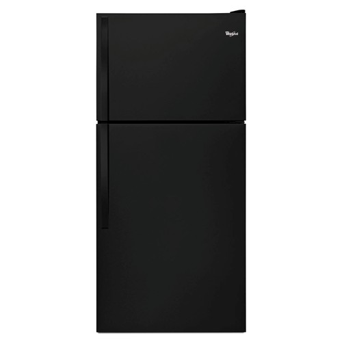 Whirlpool 18 C/F Refrigerator with Top Freezer Glass Shelves, No Ice Maker, ADA Compliant, Energy Star, WRT318FZDB, Black