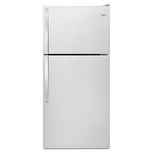 Whirlpool 18 C/F Refrigerator with Top Freezer Glass Shelves, No Ice Maker, ADA Compliant, Energy Star, WRT318FZDM, Stainless Steel