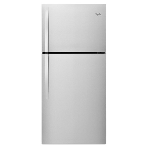 Whirlpool 19 C/F Refrigerator with Top Freezer Glass Shelves, No Ice Maker, ADA Compliant, Energy Star,WRT549SZDM, Stainless Steel