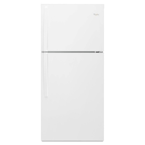 Whirlpool 19 C/F Refrigerator with Top Freezer Glass Shelves, No Ice Maker, ADA Compliant, Energy Star,WRT549SZDW, White
