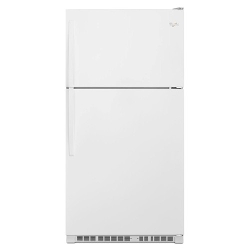 Whirlpool 20 C/F Refrigerator with Top Freezer Glass Shelves, No Ice Maker, ADA Compliant, Energy Star, WRT311FZDW, White