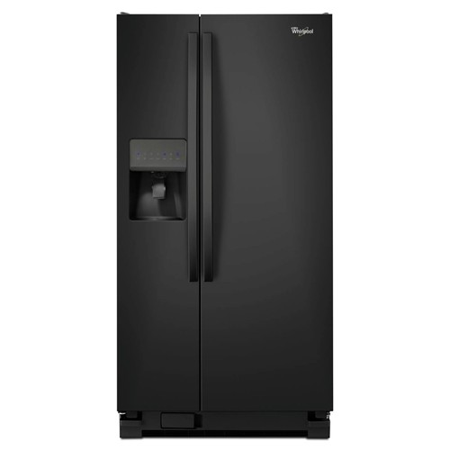 Whirlpool 21 C/F Refrigerator Side by Side with Water/Ice Dispenser, Glass Shelves,WRS322FDAB, Black