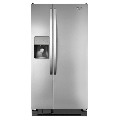 Whirlpool 21 C/F Refrigerator Side by Side with Water/Ice Dispenser, Glass Shelves,WRS322FDAM, Stainless Steel