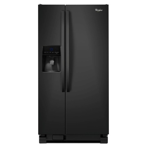 Whirlpool 21 C/F Refrigerator Side by Side with Water/Ice Dispenser, Glass Shelves, ADA Compliant,WRS342FIAB, Black