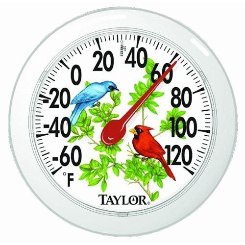 Taylor Precision Cardinal Bunting Dial Outdoor Wall Thermometer