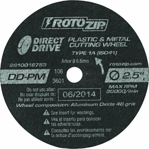 Rotozip Tool Co. Direct Drive Plastic And Metal Cutting Wheel