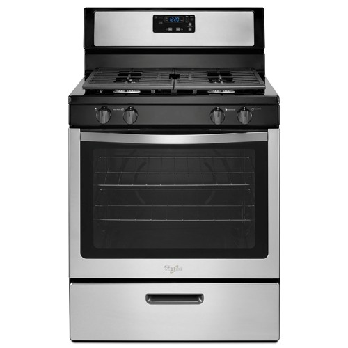 "Whirlpool 30"" Freestanding Gas Range Coil Burners, Clock, Timer, Window, Manual Clean. WFG320M0BS, Stainless Steel"
